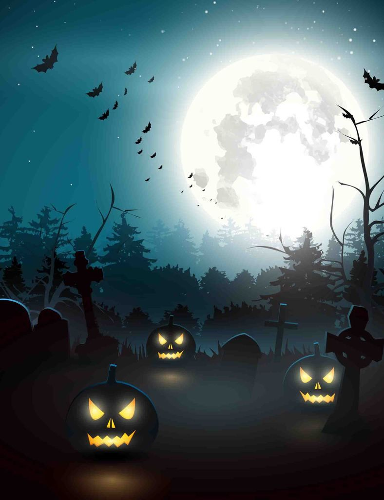 Printed Pumpkin Cemetery And Bat For Halloween Holiday