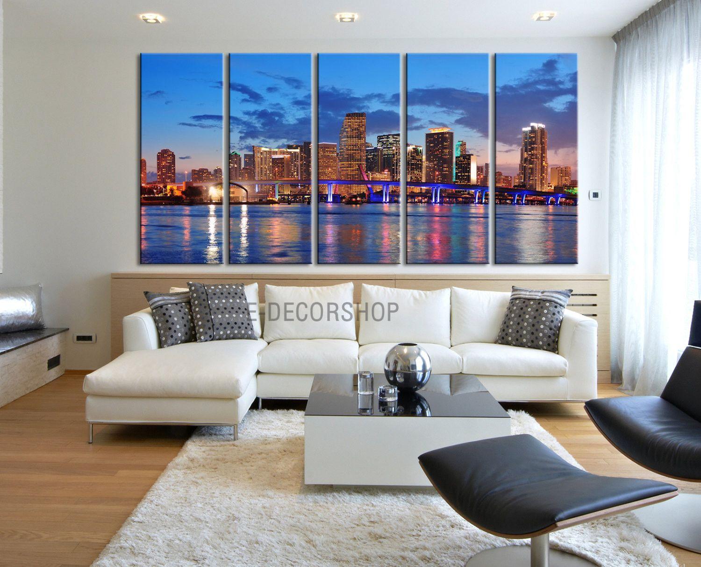 Large Wall Art Canvas Print Miami City Skyline At Night 5 Panel