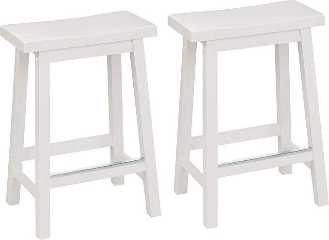 Amazon Com Amazonbasics Classic Solid Wood Saddle Seat Kitchen