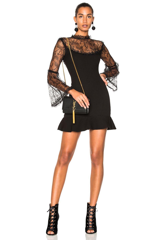 Nicholas crepe mini flounce dress in black fwrd dress
