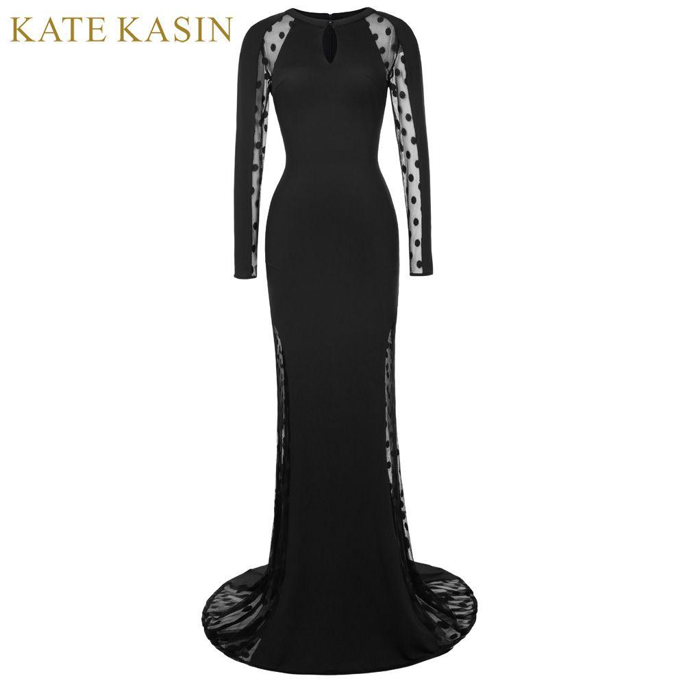 Kate Kasin Polka Dots Long Sleeve Evening Dresses 2017 See Through ...