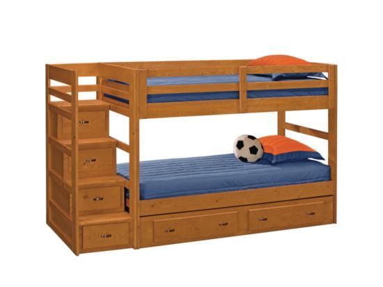 Varsity Pine Twin Bunkbed With Stairs 2 Drawer Storage American