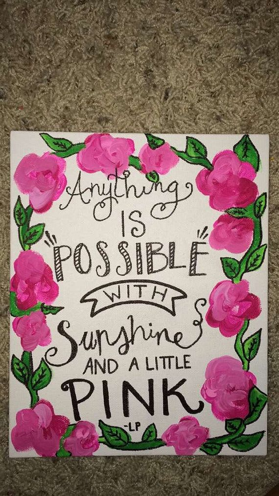 Lilly pulitzer inspired canvas cute pink sunshine quote | cuadros ღ ...