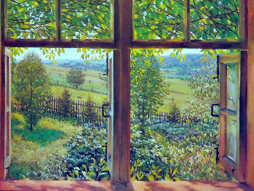 картина вид из окна в сад отворотом