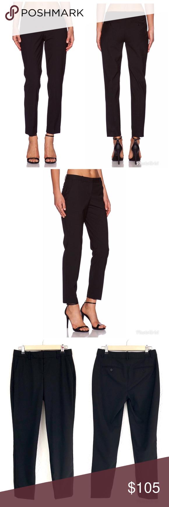 aeb1f06032a THEORY Testra 2B Black Wool Straight Leg Crop Pant Theory women's 'Testra  2B' classic
