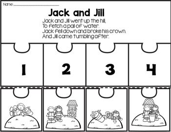 Kindergarten Sub Plans for Jack and Jill Sample Freebie