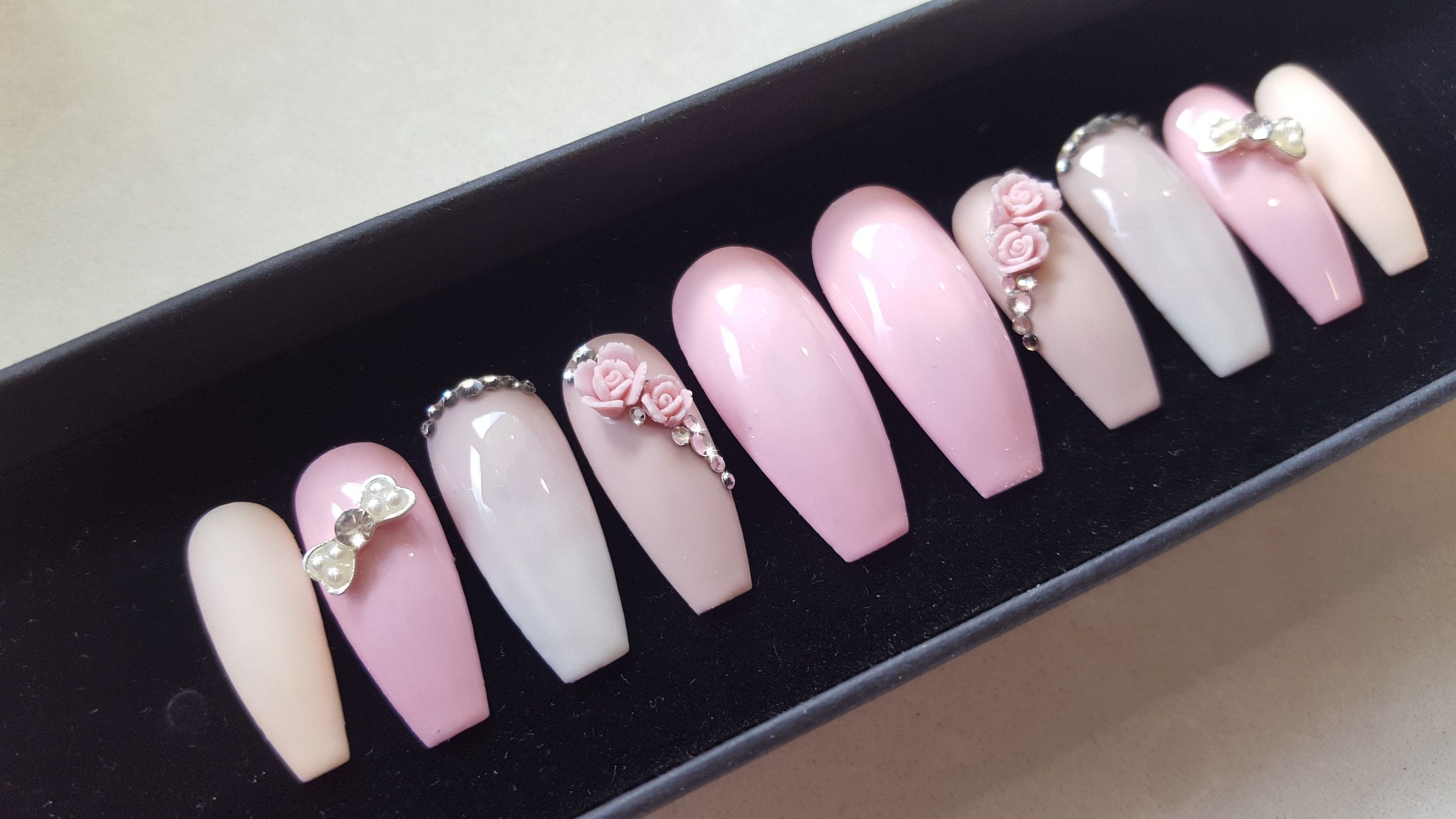 Kiss 24 Glue Press On Nails Pink Floral The Collection Medium 62273 Kiss Glue On Nails Kiss Press On Nails Press On Nails