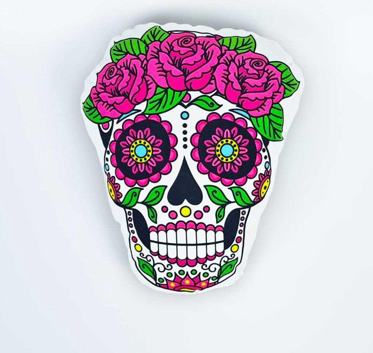 Mexicaanse Doodskop Kussen Sugar Skull Dia De Los Muertos Happy Halloween In 2021 Kussen Sierkussens Dia De Los Muertos