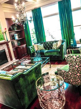 Love the idea of a emerald sofa