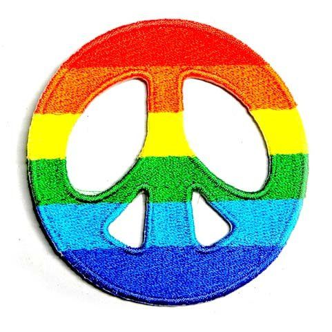 Rainbow Peace Sign War Fancy Appliques Hat Cap Polo Backpack