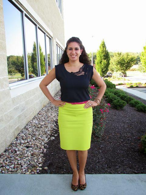Navy & JCrew Lime Green pencil skirt | Dayi's Sense of Style ...