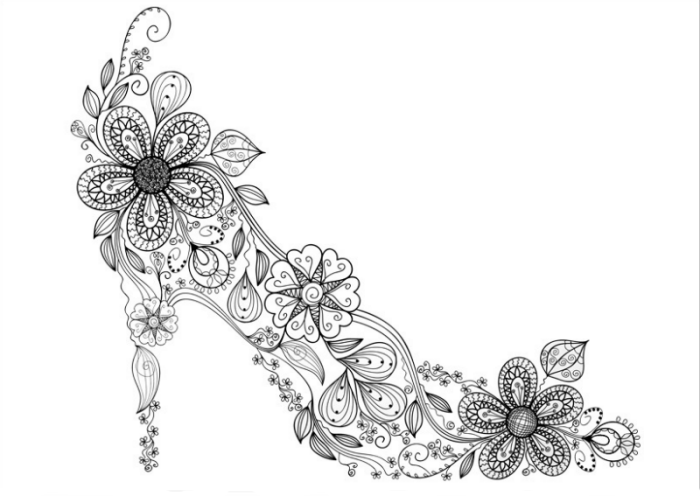 Zen High Heel Shoe Coloring Page Free Printable