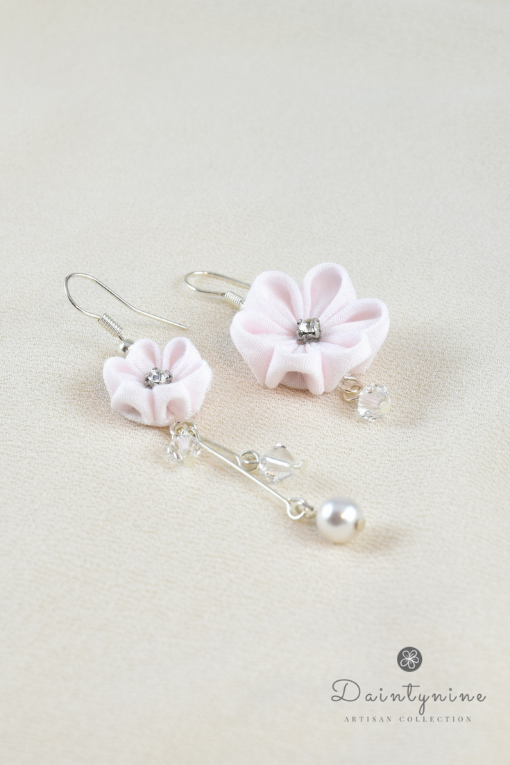 Dainty Flower Dangle Earrings In Pale Pink With Crystals And Pearls