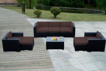 Amazon.com: Genuine Ohana Outdoor Patio Sofa Wicker Furniture 8pc Couch Set with Free Patio Cover: Patio, Lawn & Garden