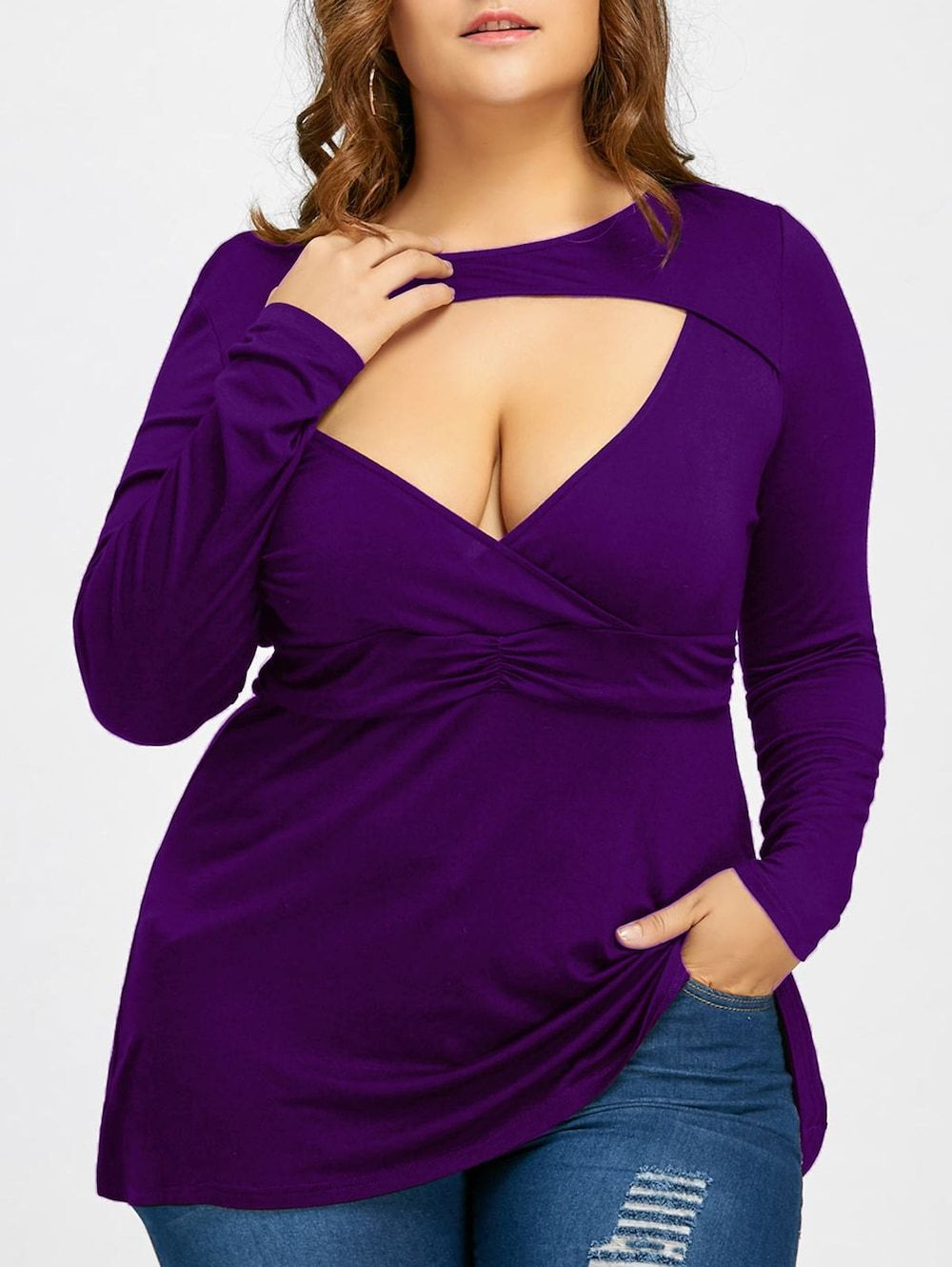 48363dbb01c52 Empire Waist Plus Size Cut Out T-shirt - PURPLE 3XL