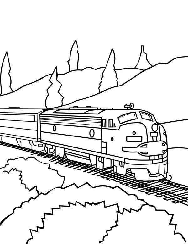 Model Train On Railroad Coloring Page Color Luna Monster Truck Coloring Pages Train Coloring Pages Coloring Pages