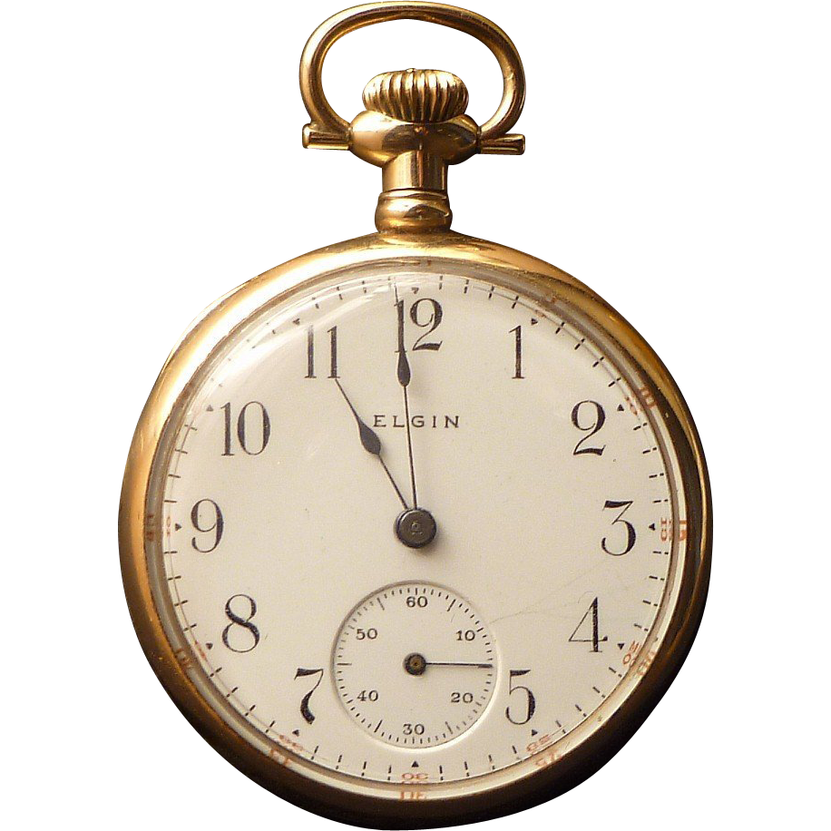 Elgin Antique Ladies Open Face Pocket Watch 14k Case