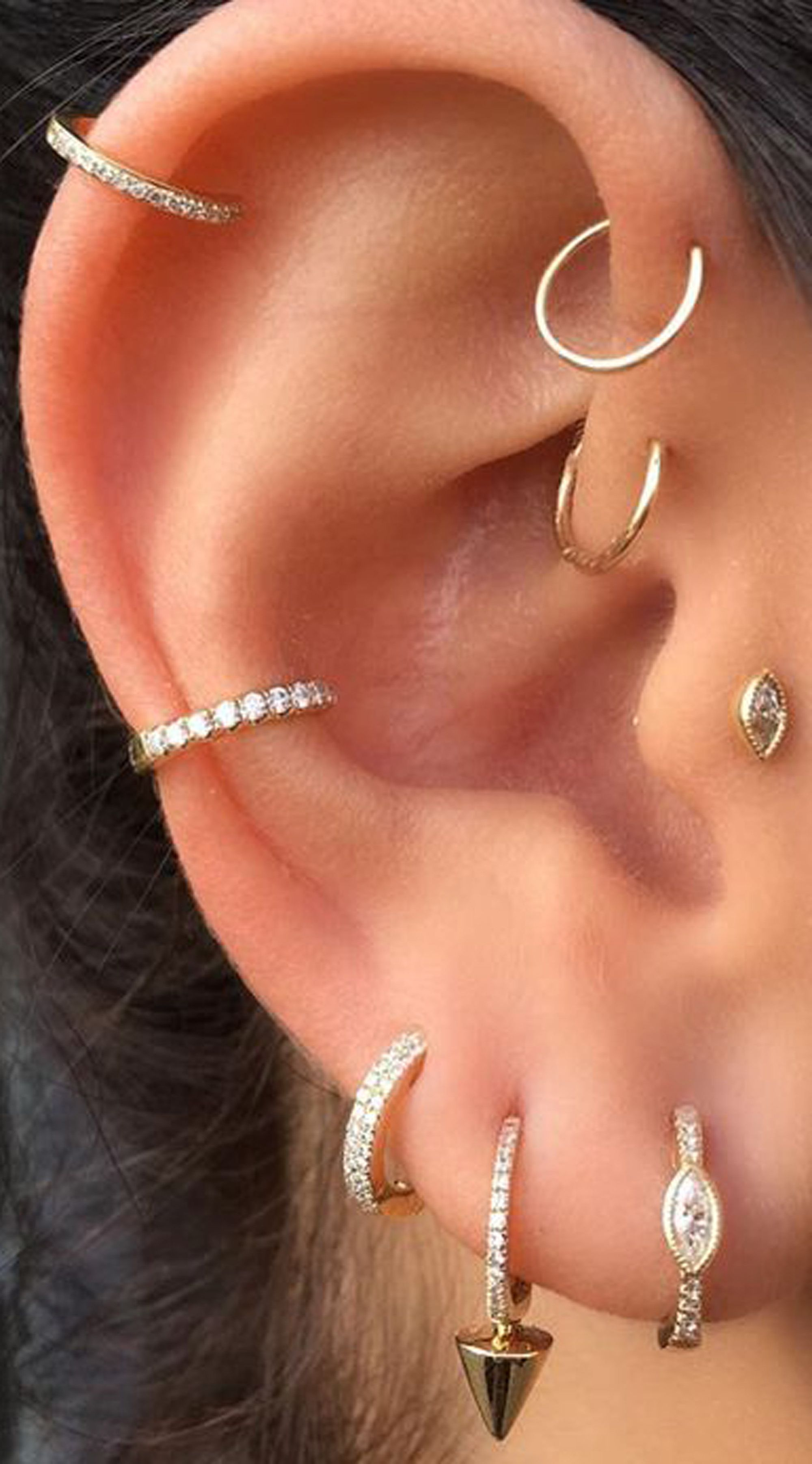 Arianna Crystal Nose  Ear Piercing Earring G Ring in Silver