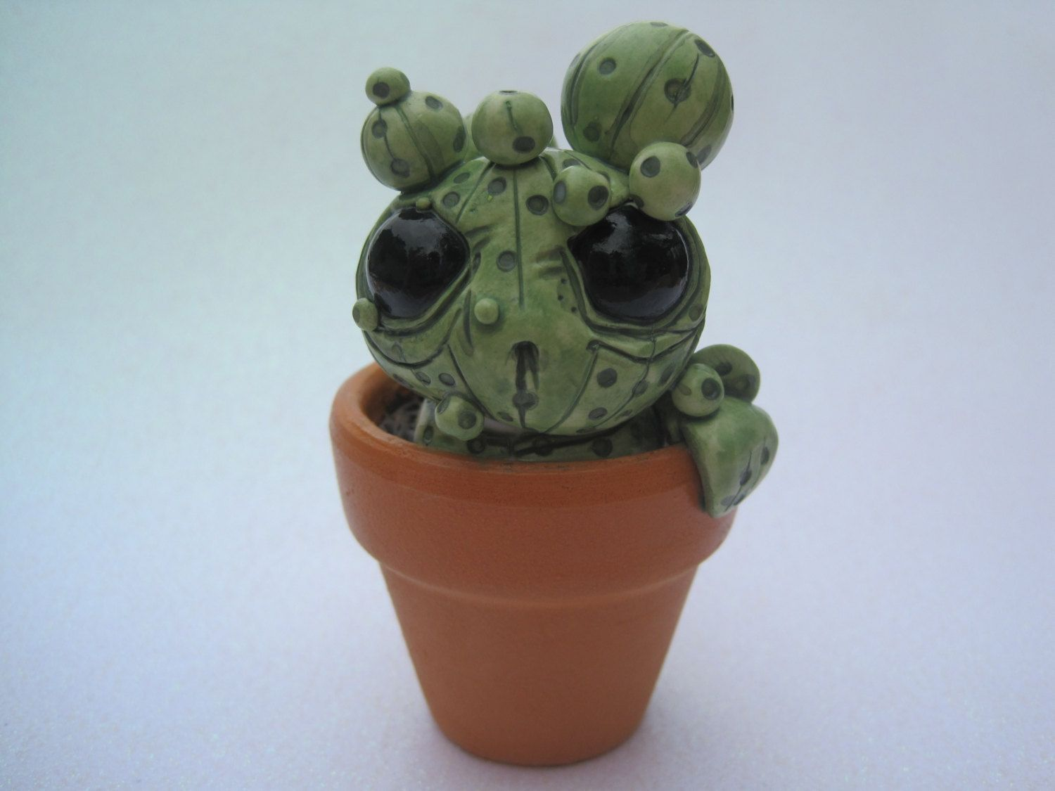 Cute Cactus Creature Mad Cacti Sculpture Green Potted Desert Plant by PlayfulPixieCreation on Etsy