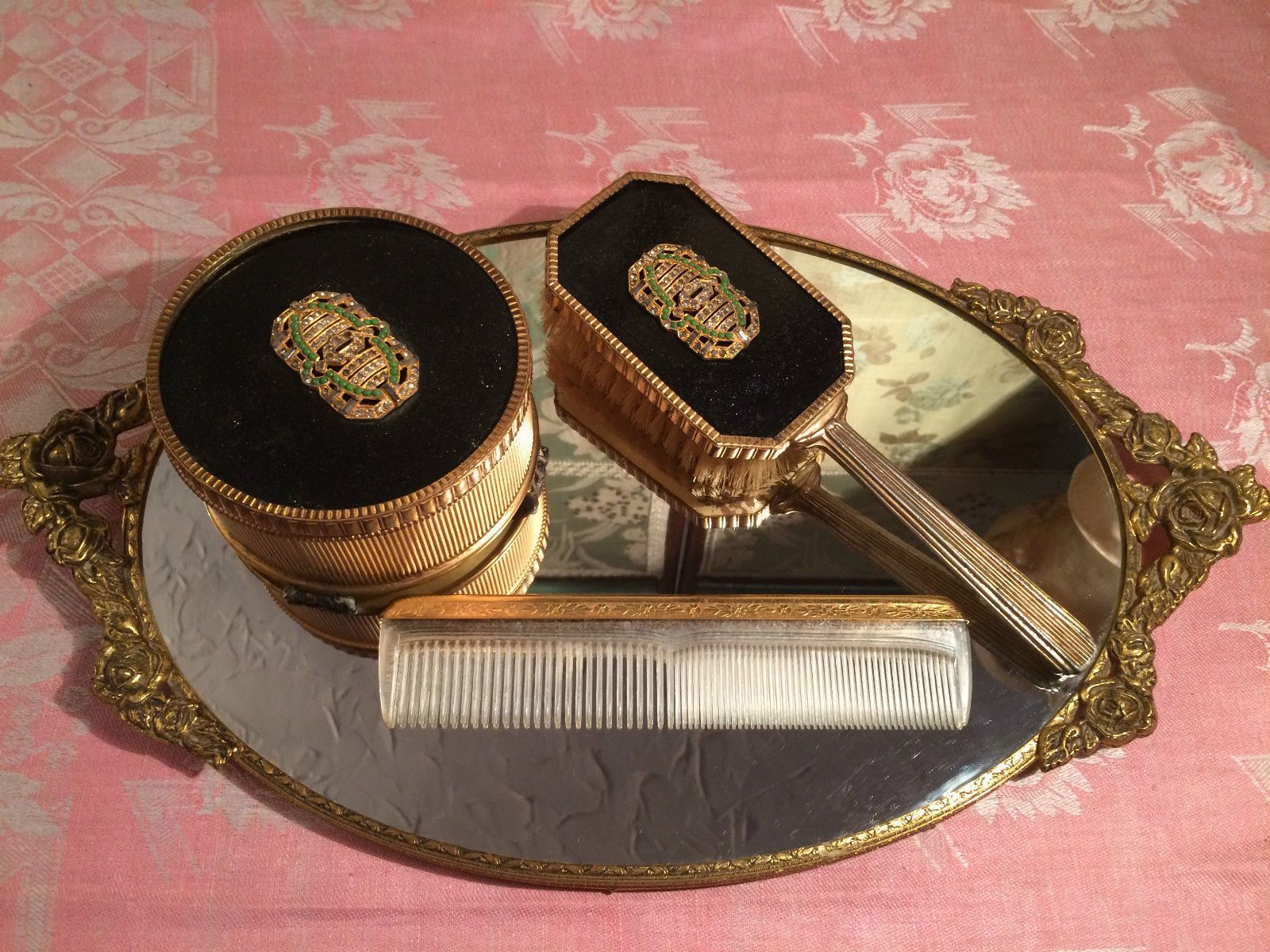 Vintage boudoir vanity ornate gold mirror tray comb jeweled brush vintage boudoir vanity ornate gold mirror tray comb jeweled brush powder box ebay geotapseo Gallery