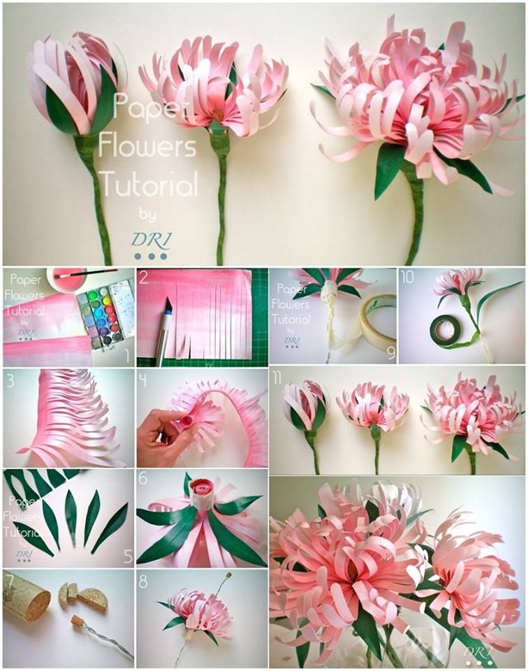 How to DIY Beautiful Paper Chrysanthemums | Papierblumen, Blumen und ...