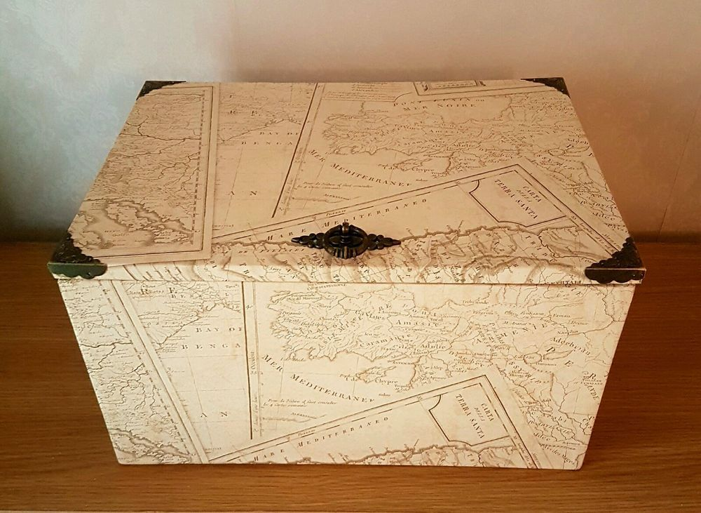 Old maps of the world treasure chestdecorative trunk unbranded ooak old maps treasure chest trunk box sepia world maps brass hinges handle home decor storage gumiabroncs Image collections