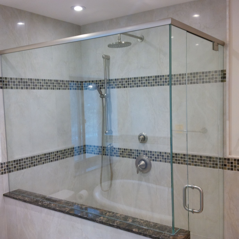 Quartz Bathroom Tiles: Custom Glass Shower Enclosure With Cambria Quartz Laneshaw