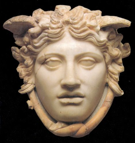 "The ""Medusa Rondanini"", late Hellenistic/Augustan Roman copy of of a classical work of the 5th century BCE. The head of Medusa is rendered more humanized than the repellent, grotesque face depicted on the shield of goddess Athena. On display at Glyptothek Museum, Munich (Germany)"