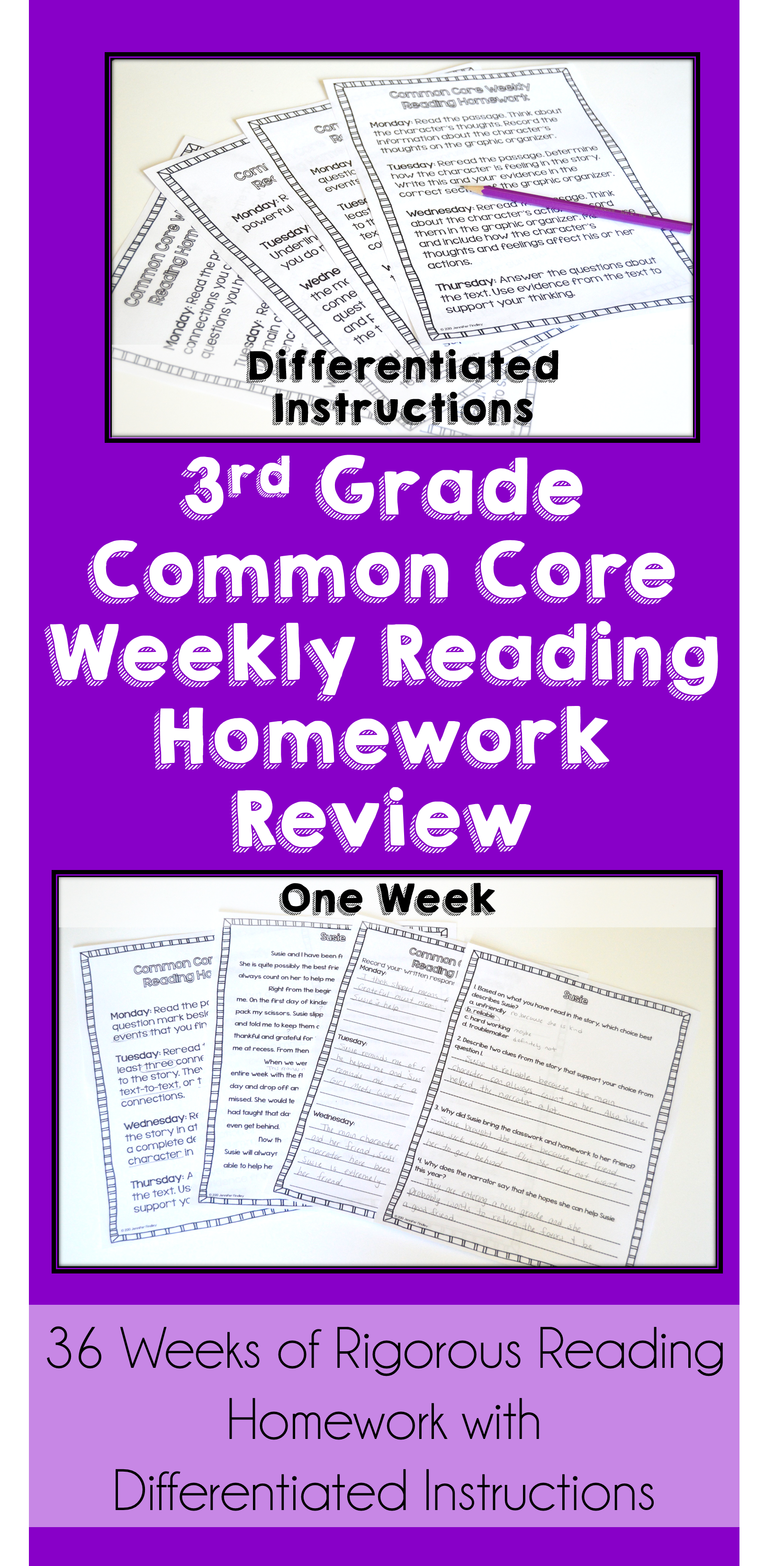 3rd Grade Reading Homework BUNDLE | Reading Comprehension Review ...