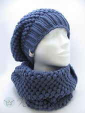 Set of puff stitch beanie and matching loop Set of puff stitch beanie and matching loop