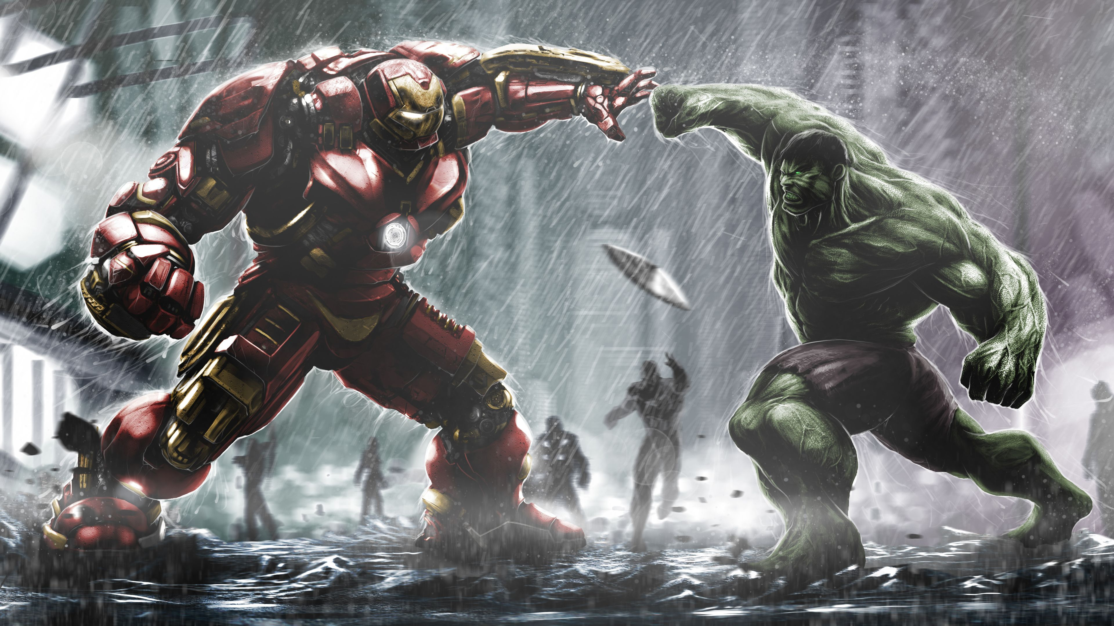 Iron Hulkbuster And Hulk Fight Artwork Superheroes Wallpapers Iron Man Wallpapers Hulkbuster Wallpapers H Marvel Wallpaper Hero Wallpaper Hulk Vs Hulkbuster