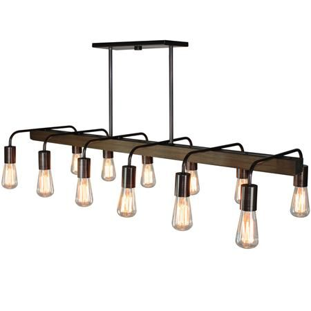 dining room fixture rustic industrial 12 light chandelier - Linear Dining Room Light Fixtures