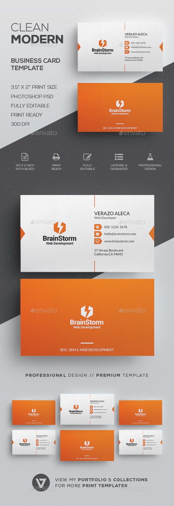 Clean Business Card Template - Corporate #Business #Cards Download here: graphic...