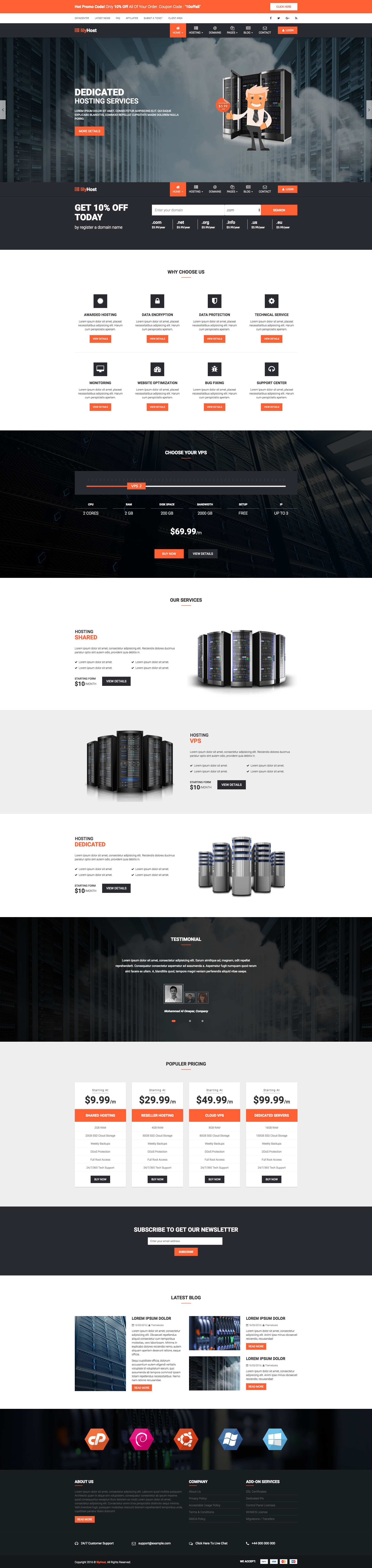 lilyHost | Responsive WHMCS Hosting HTML5 Template. It\'s an HTML5 ...