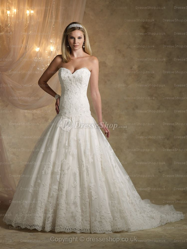 Ballgown Sweetheart Lace Satin Sweep Train White Beading Wedding