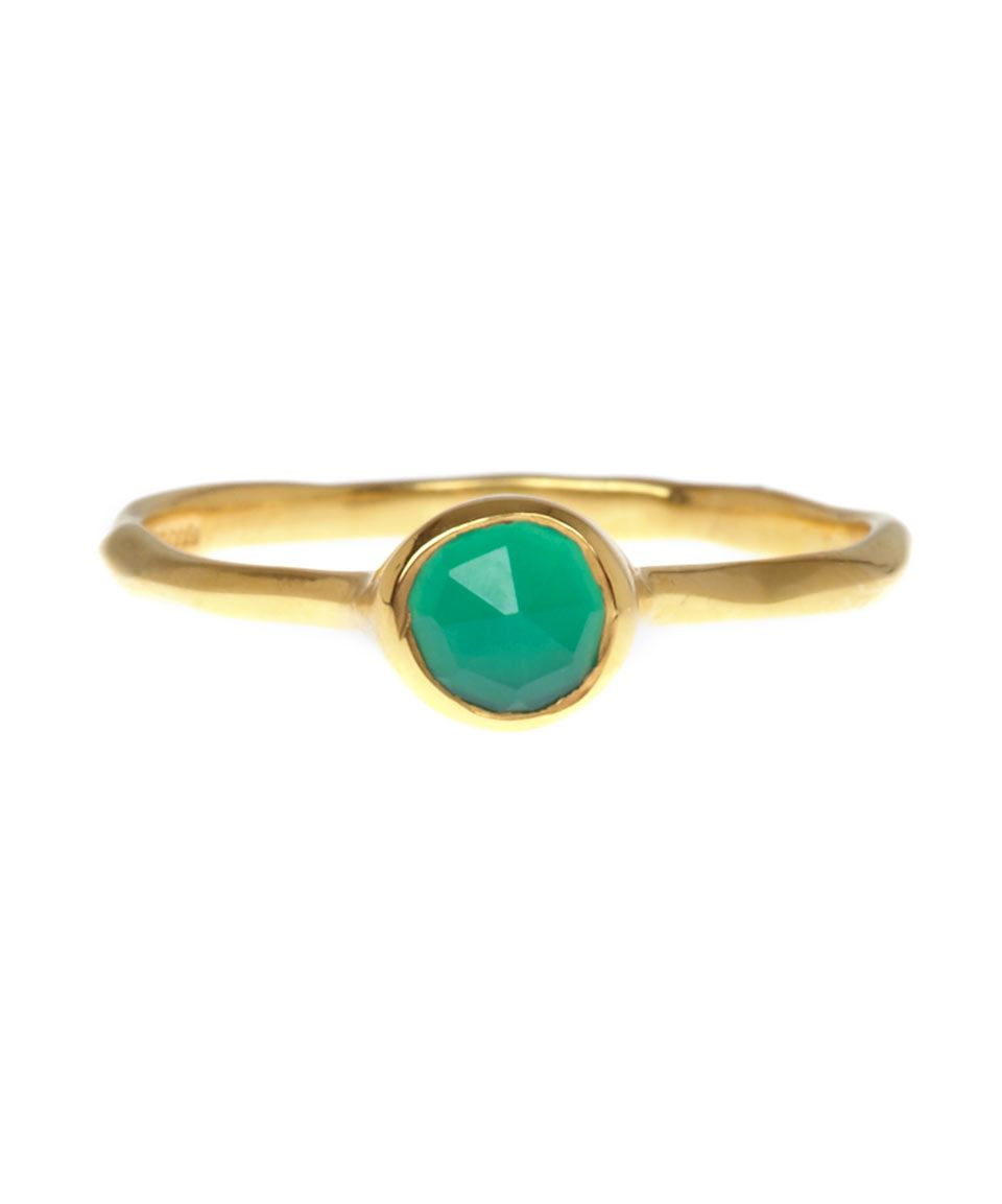 Gold Siren Medium Stacking Ring Green Onyx Monica Vinader