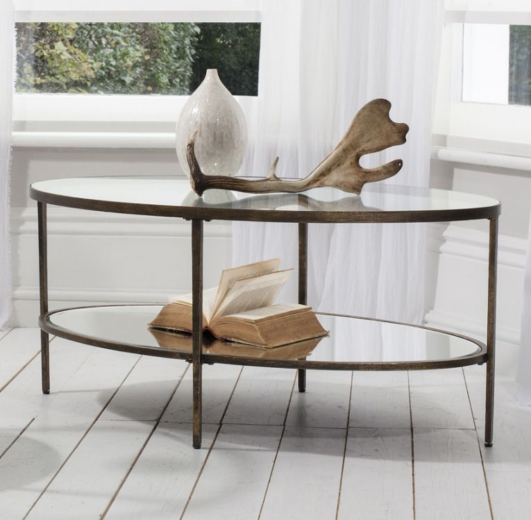 Temperley Bronze Oval Glass Coffee Table Oval glass coffee table