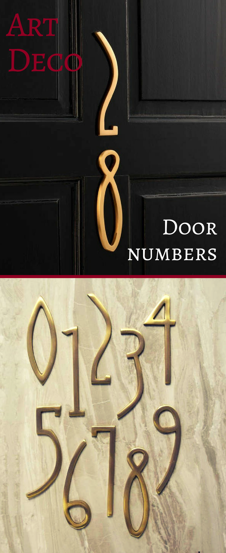 Swap out your dull digits for our brass art deco house numbers