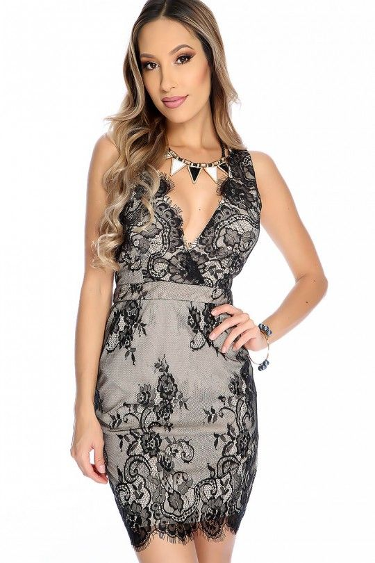 ... Sexy Nude Black Two Tone Sleeveless Plunging V-neck Floral Lace  Embroider Overlay Party Dress  CCSDR Womens ... 5e98bea89