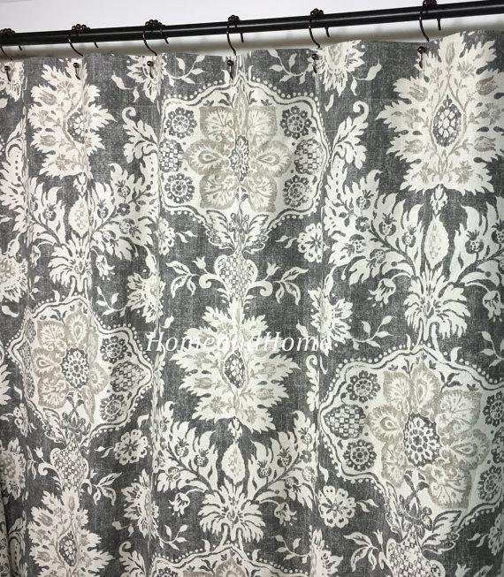 Shower Curtain Belmont Metal Grey Beige Cream 72 X 84 96 108 Long Shower  Curtain Extra Wide Shower Curtain Fabric Shower Curtain