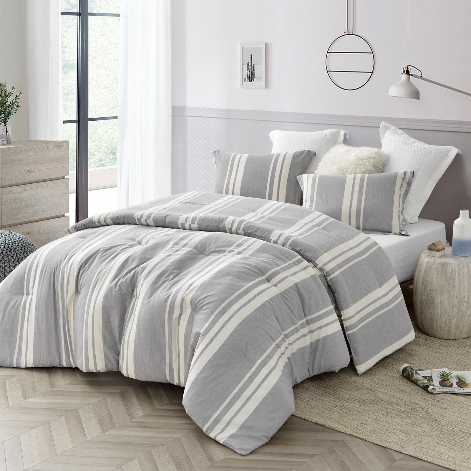 Cirbus Gray Stripes 100 Yarn Dyed Cotton Comforter by