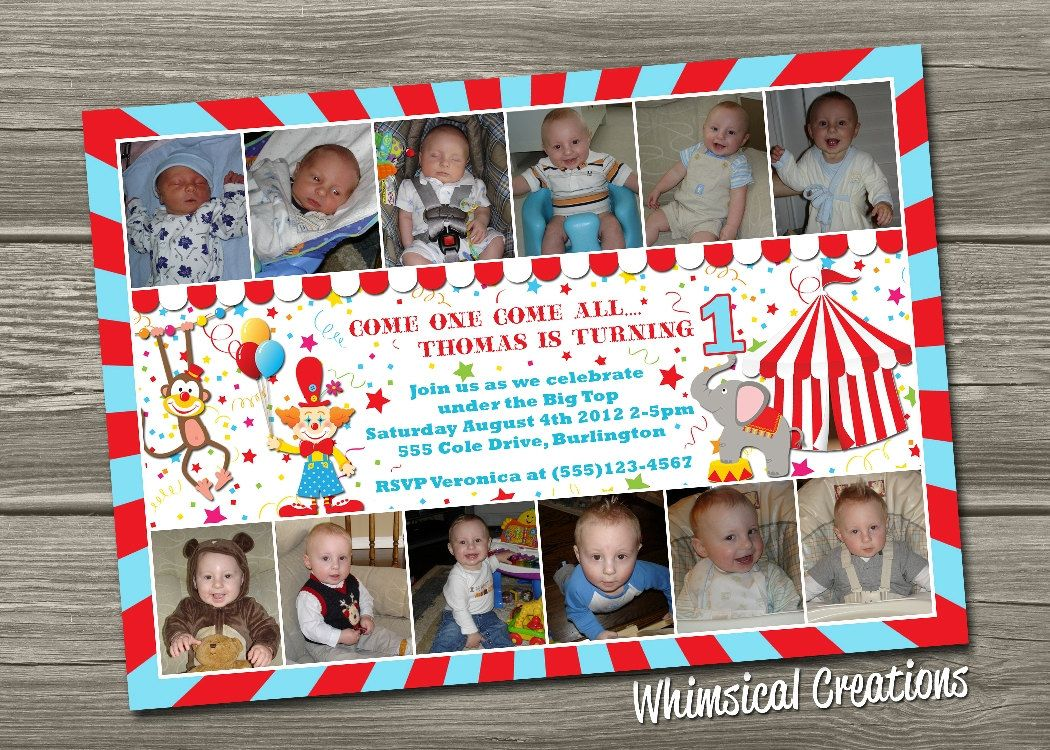 Circus St Birthday Invitation Digital By Whimsicalcreationspc