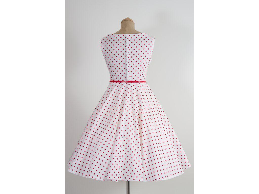 e641455d9bbf SUSAN retro šaty bílé s červeným puntíkem. lodičkový výstřih knoflíčky na  zadní straně kolová sukně pásek s ozdobnou sponou délka sukně 60 cm