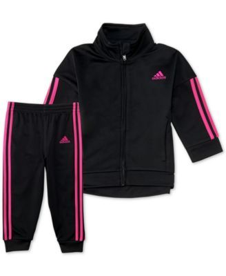 7b1a4f0e8 adidas Baby Girls 2-Pc. Three-Stripe Jacket & Jogger Pants Set - Black 12M