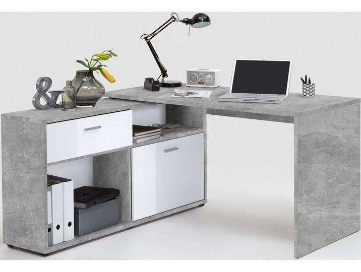 Fmd Eck Schreibtisch Diego Mit Regalelement Grau Betonfarben