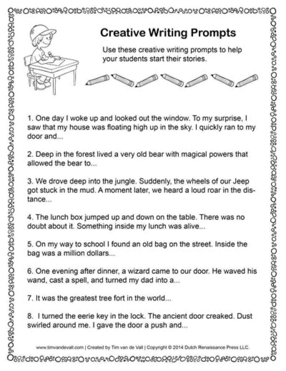Createg Worksheets For Kindergarten Creative Prompts Printable For Creative Writing Work Creative Writing Prompts Free Writing Prompts Creative Writing Classes