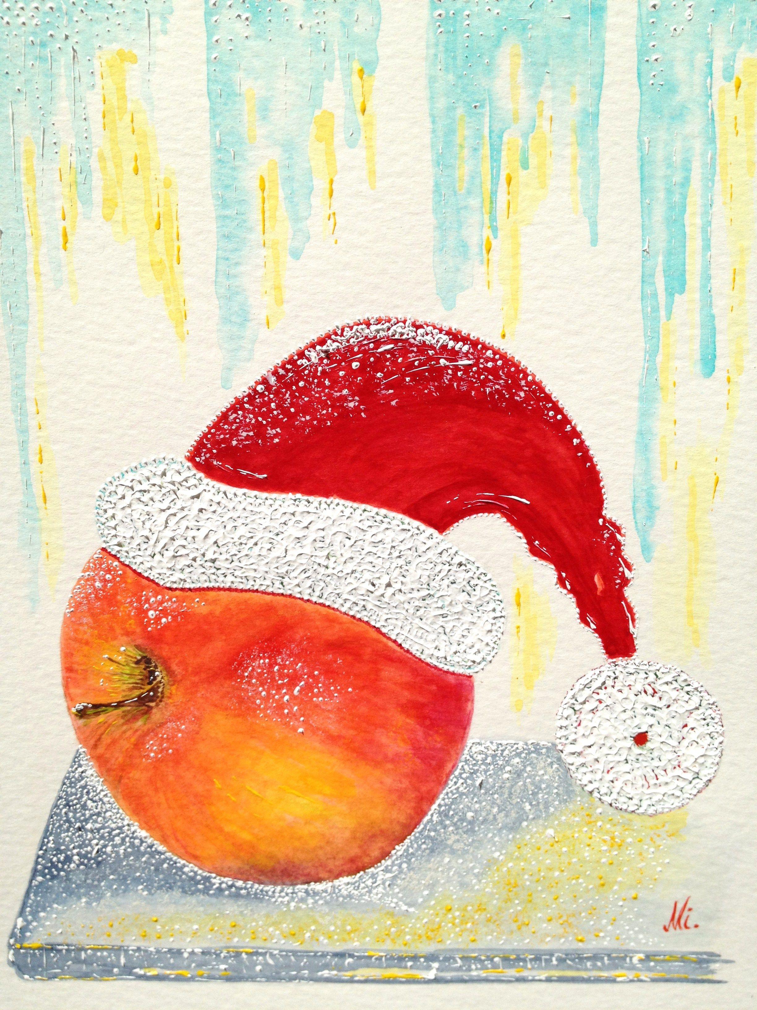 Aquarelle Weihnachtsapfel Auf Der Fensterbank Aquarellbilder