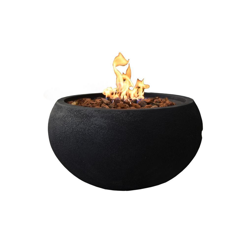 Modeno York 26 8 In Round Concrete Propane Fire Bowl In Propane In Baroque Black Propane Fire Bowl Propane Fire Pit Table Fire Bowls
