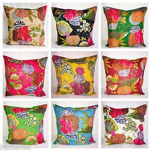 Details about Indian Floor Pillow Cotton Floral Kantha Cushion Cover ...