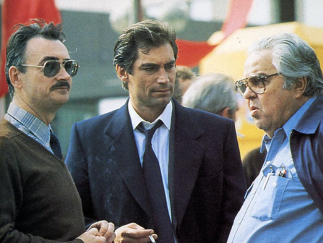 Tim with Michael G  Wilson and Cubby Broccoli   behind the scenes of     Tim with Michael G  Wilson and Cubby Broccoli   behind the scenes of The  Living Daylights 1987